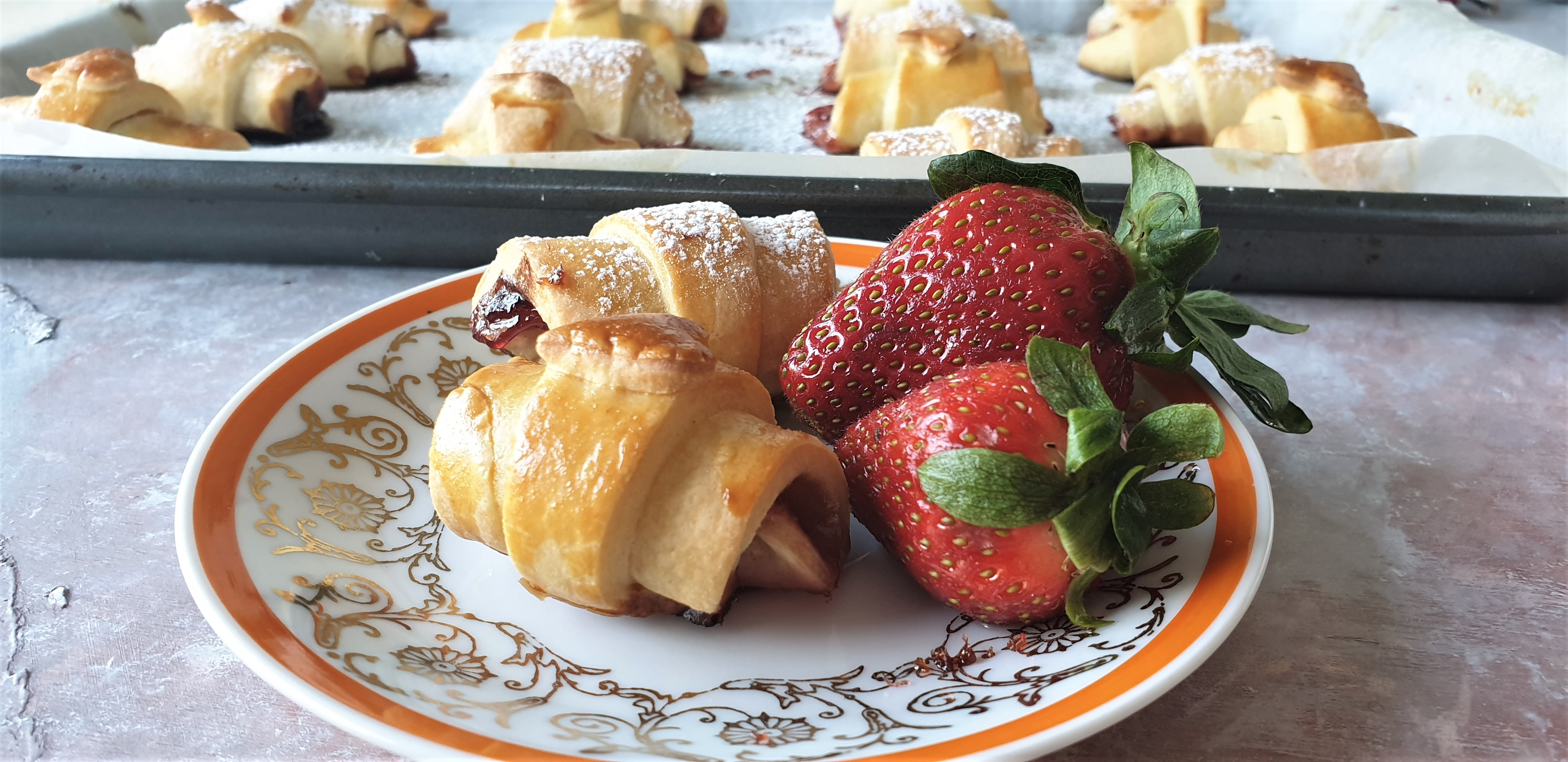 jam crescents with strawberries