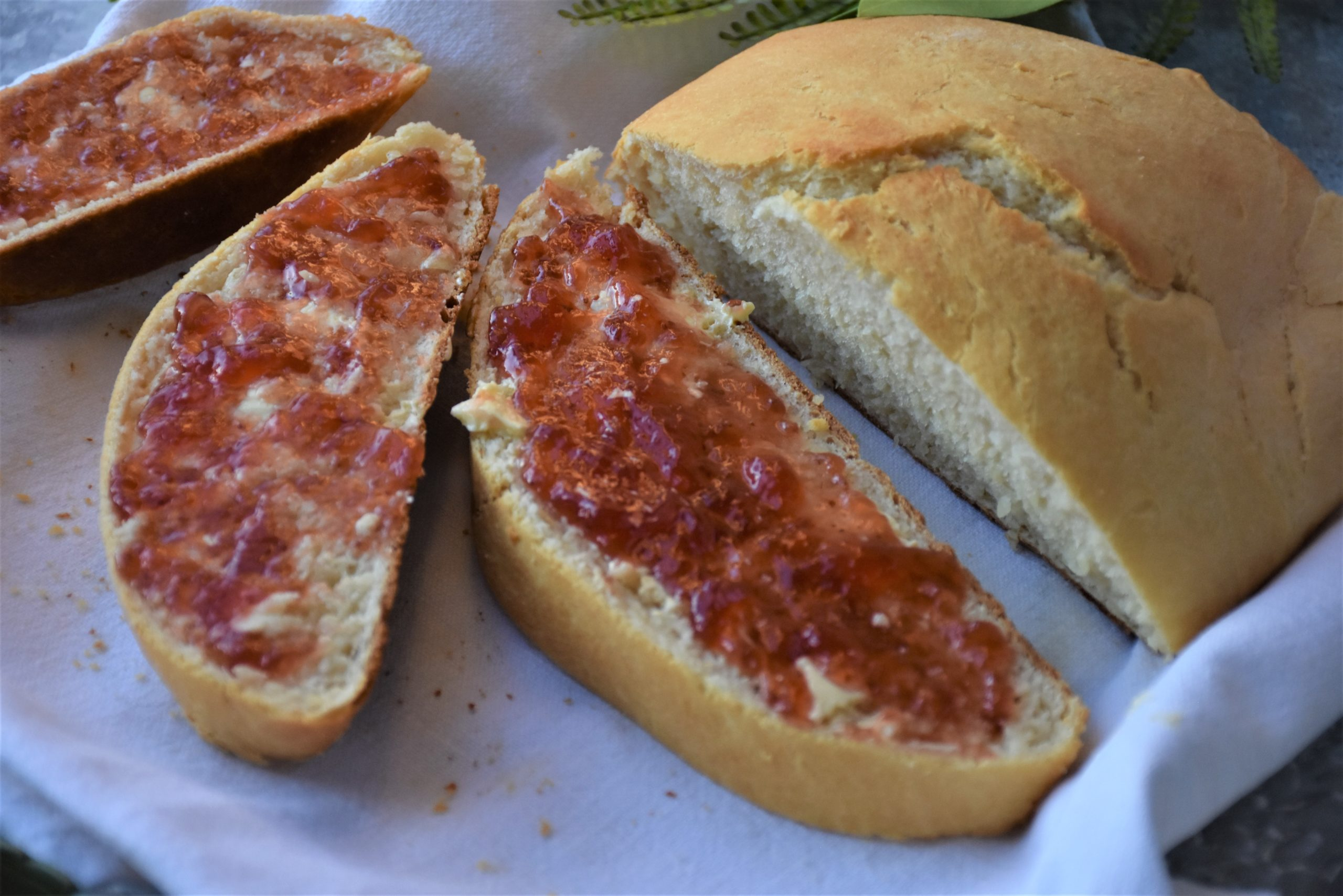 homemade bread with butter and jam