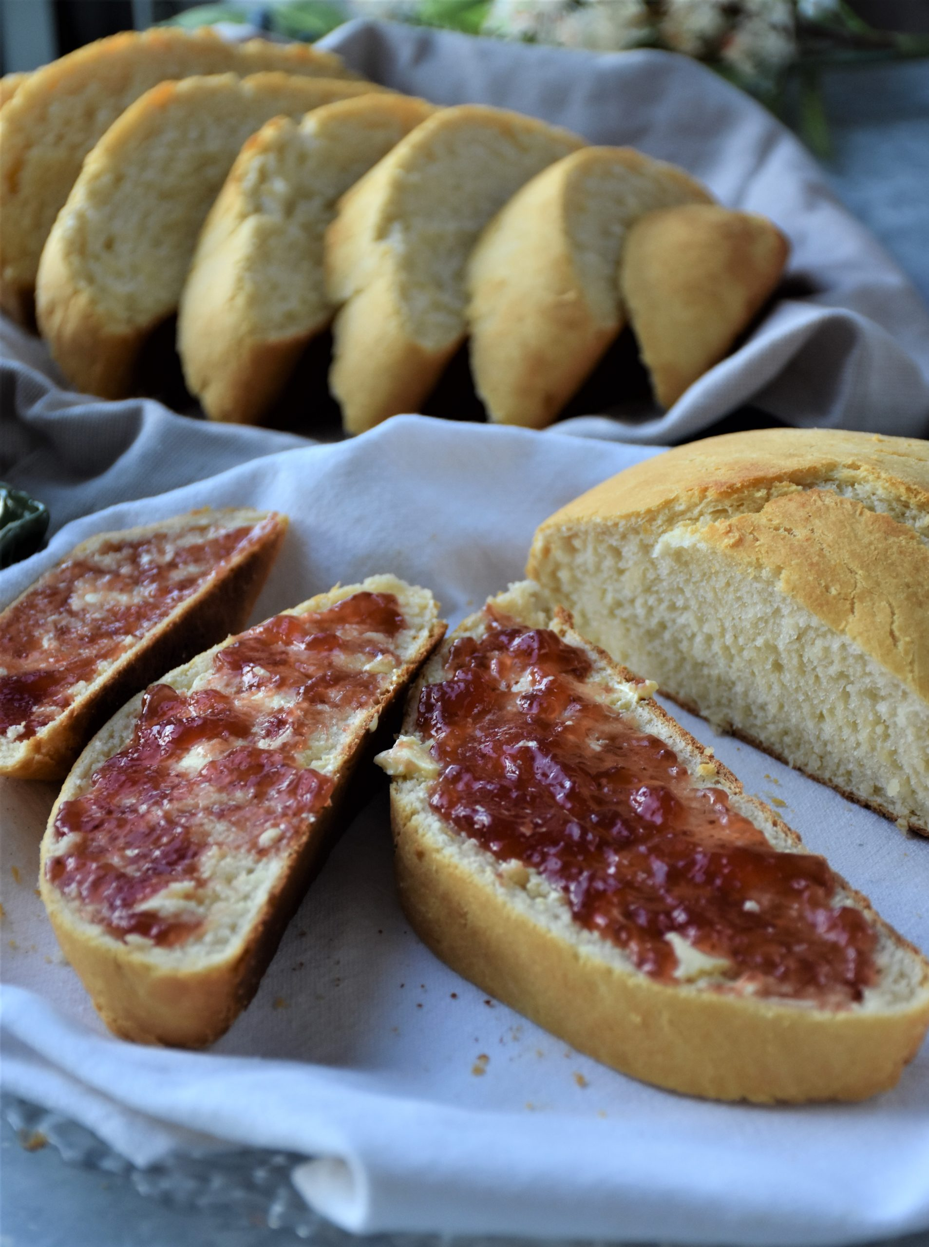 homemade bread slices with jam