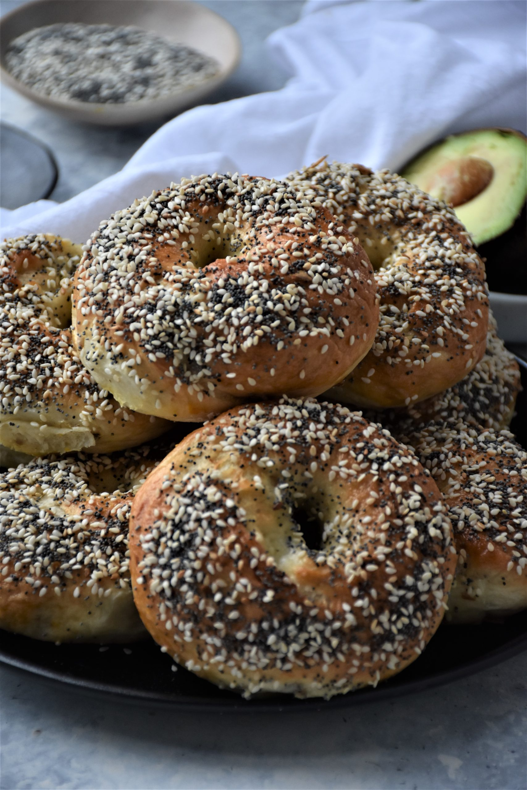 Homemade Bagels From Scratch  On A Plate
