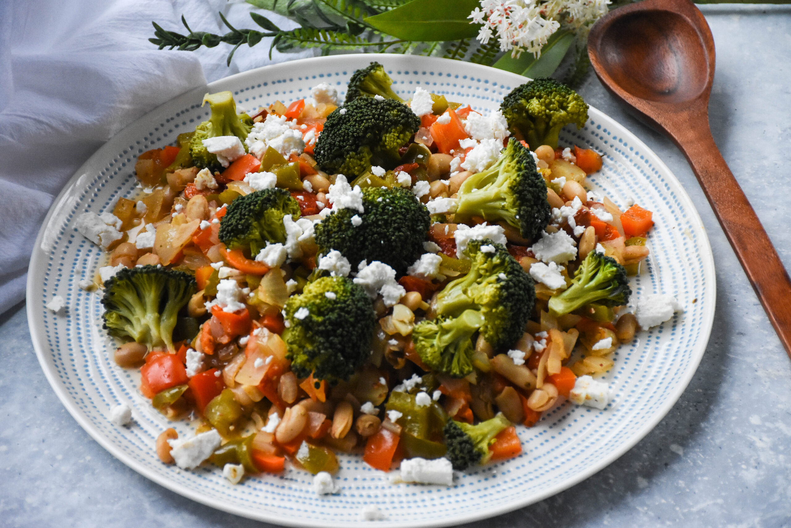 beans and vegetables served on a plate